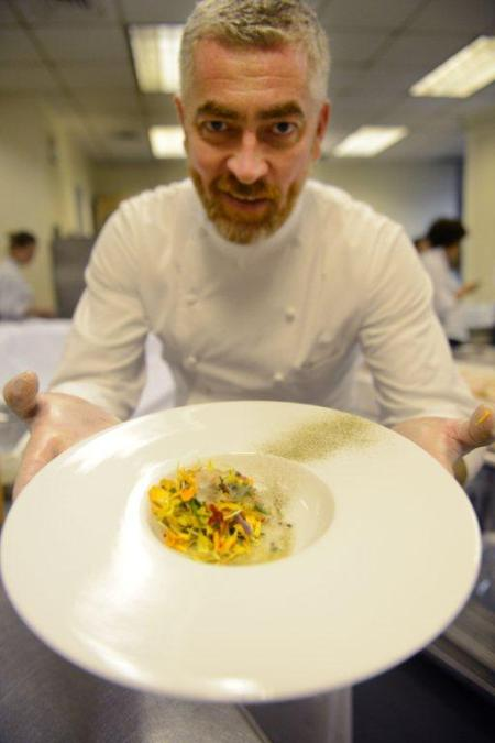 Talk about chefs whom I worship? Here is Alex Atala with his Flower Ceviche with an Orange Blossom Vinaigrette