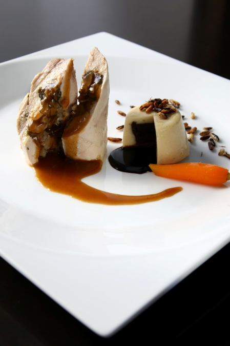 Guinea Fowl Ballotine stuffed with Mushrooms, White and Black Bean Petit Gateaux