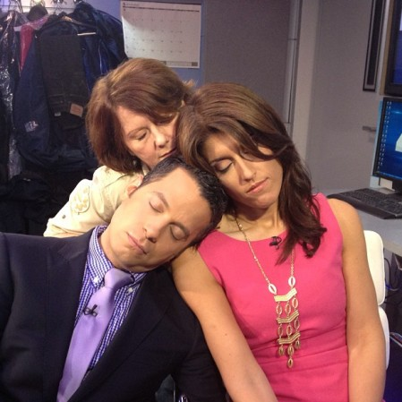 Sleeping at work: Raphael, Lauren Scala (traffic reporter) and their producer XXX)